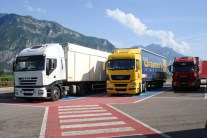 A view on the on parked trucks, while we have stopped on the way to Lake Garda, Italy.