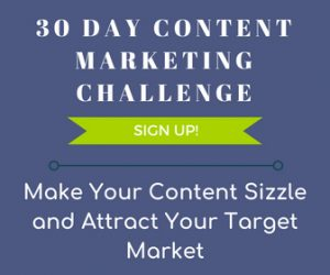 30 Day Content Marketing Challenge Sign up Graphic