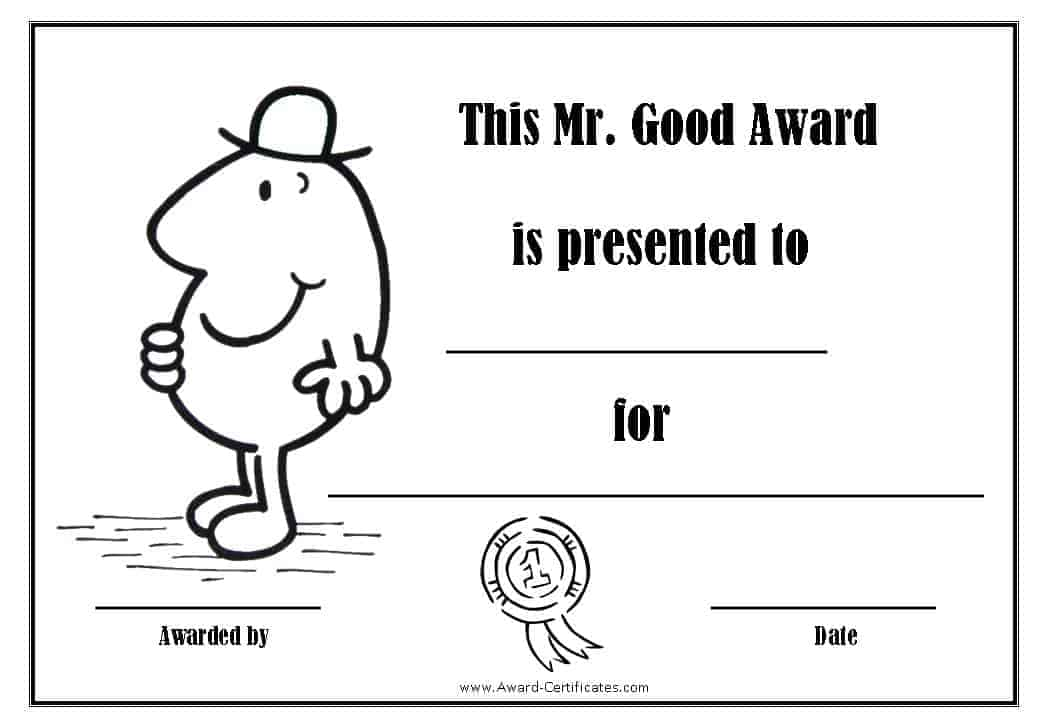 award certificate for being good