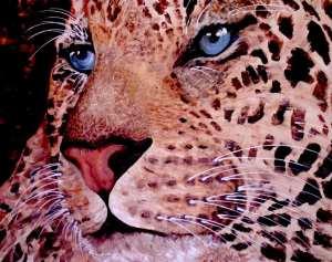 Man sieht einen Leopardenkopf, gemalt von Dodo Kresse, in Acryl auf Leinwand.