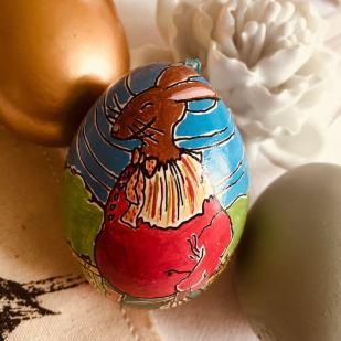 Osterhase, mit Gouache gemalt