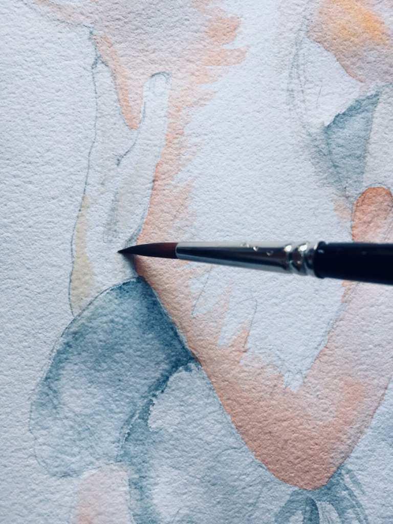 du siehst die verschiedenen Lasuren der Illustration Füchslein mit Aquarellfarbe