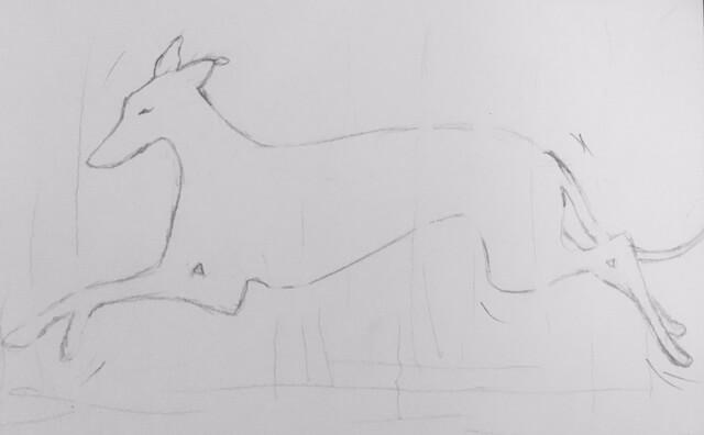 Du siehst hier die Vorzeichnung in Bleistift für das Bild Aquarell Wiesenhüpfender Whippet