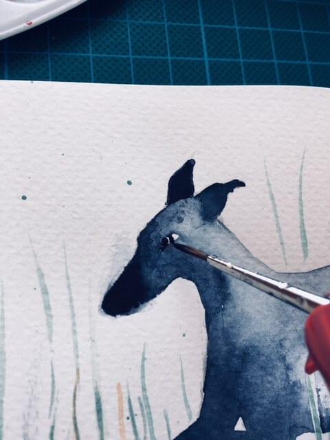 du siehst hier wie Dodo das Aug des Whippet malt