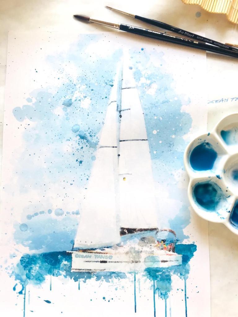 du siehst hier ein Aquarell eines Segelbootes von Dodo Kresse für creative club ocean tango Kopie