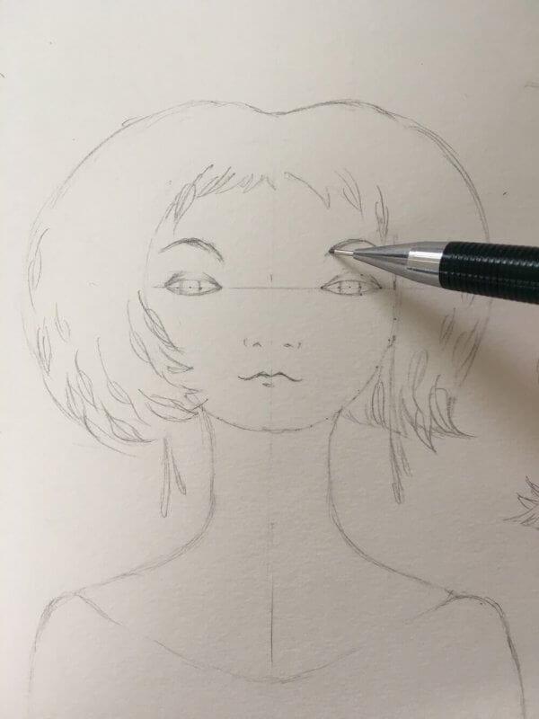 Die Augenbrauen werden sorgsam eingezeichnet