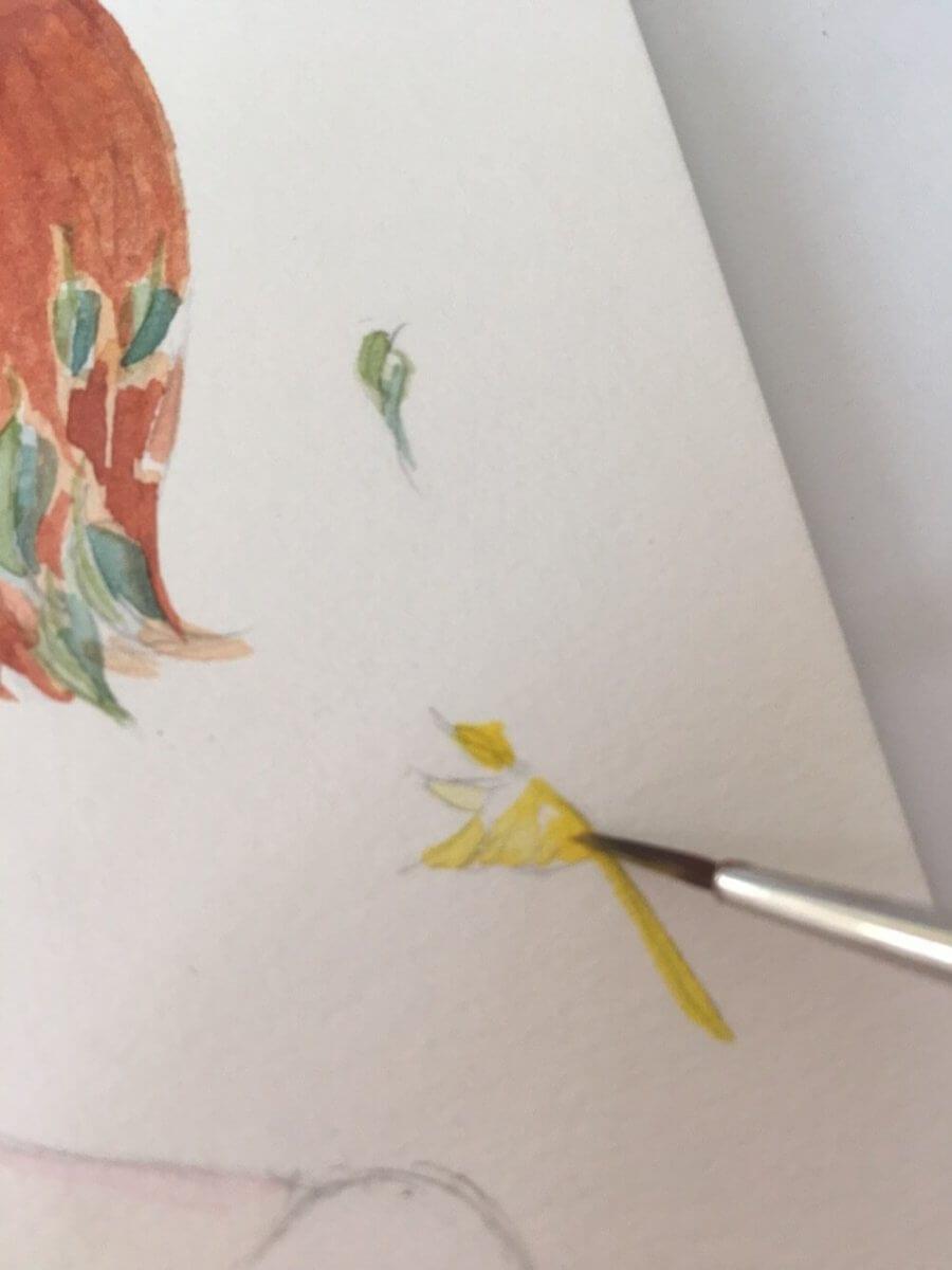 Das junge Mädchen im Artdeco-Stil in pastellen Grüntönen wird von einem gelben Kolibri umflattert. Das Bild wurde von der Künstlerin Dodo Kresse gemalt.