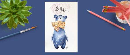 Man sieht einen Bären in Watercolor gemalt von der Künstlerin Dodo Kresse für Creative Club