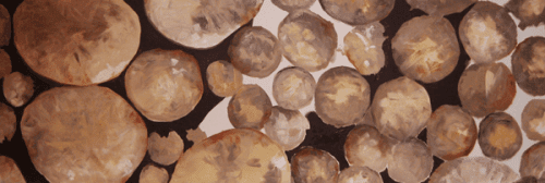 Man sieht ein Acrylbild, das Steine in gedeckten Farben zeigt. Es wurde von der Künstlerin Dodo Kresse für den Creative club gemalt.