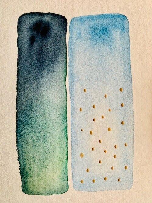 Die eigenen Schatten heißt dieses Aquarell von Dodo Kresse, es zeigt zwei Balken in Blau und Grün mit silbernen Punkten