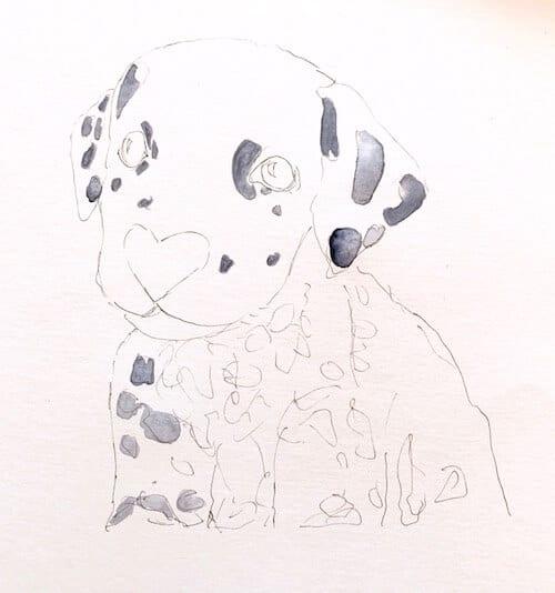 Man sieht, wie Dodo Kresse die ersten Flecken des Dalmatiners mit Aquarellfarbe in Indigo bemalt.