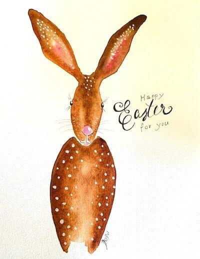 Hier malt Dodo Kresse einen Osterhasen für ihren Blog Creative Club