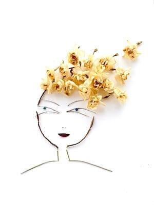 Man sieht die ersten Blüten des Collagebildes Happy Mind von Dodo Kresse