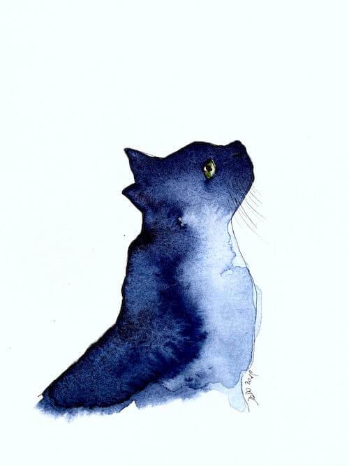 Hier siehst du die Indigo Aquarellfarbe besonders schön verfließen, als wären es galaktische Kreis-Nebel, die sanft verlaufen. Passend zu dem Thema Aquarell Katze.