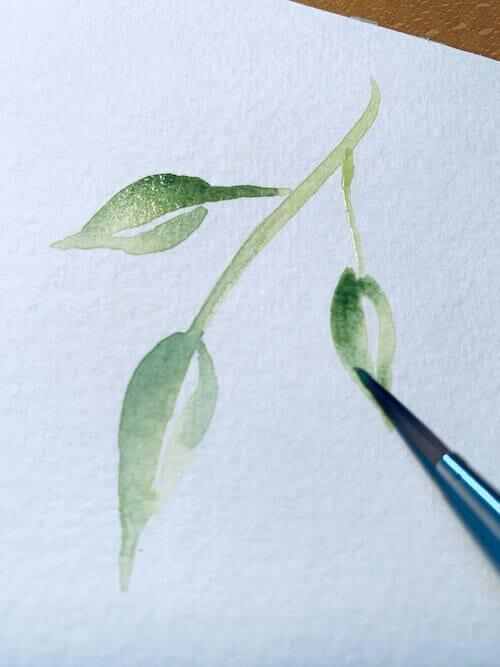 Olivegrün und Neapelgelb und etwas Dunkelgrün für die Schattenpartien der Blätter