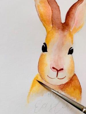 Hier wird Indischgelb mit Kadmiumorange und etwas Umbra gebrannt vermischt und damit der Hasenkörper gemalt