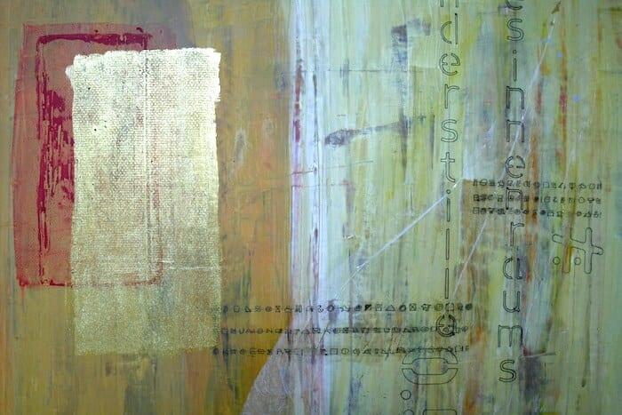 """Man sieht einen Ausschnitt eines Bildes von Dodo Kresse mit dem Titel """"Zeitenfuge"""". Mixed-Media Acryl auf Leinwand, 120 x 50 cm."""