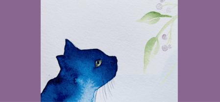 Hier siehst du das Bild Katzensicht, ein Aquarell auf Papier, 30 x 40 cm. Es wurde von Dodo Kresse für Creative Club gemalt.