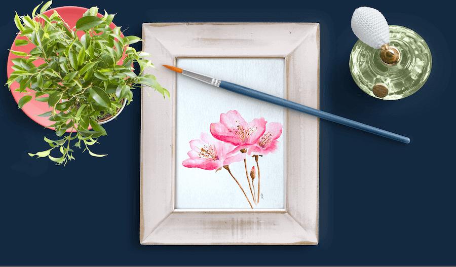 Du siehst ein Aquarell von Dodo Kresse mit dem Titel Kirschblüten für Creative Club Dodo