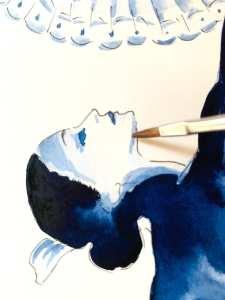 Du siehst, wie Dodo mit verdünnter Aquarellfarbe das Gesicht der Tango-Lady malt. Das Aquarell ist nur mit einer Farbe gemalt, nämlich mit Indigo.