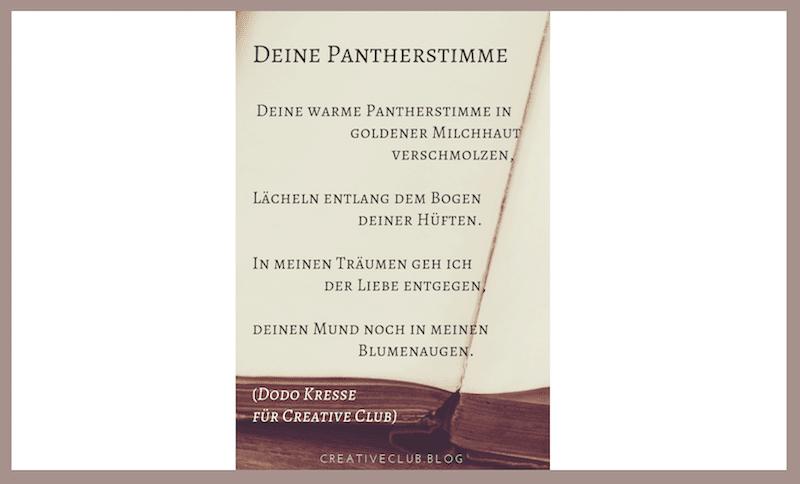 Du siehst ein Gedicht von Dodo Kresse namens Deine Pantherstimme