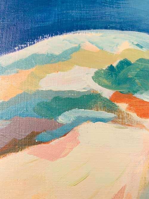 du siehst einen mix aus unterschiedlichen Farbflächen mit Acryl