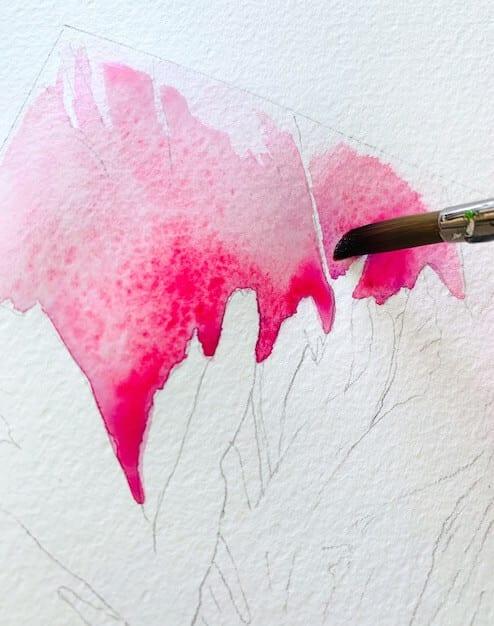 Du siehst erste Farblasuren in pink