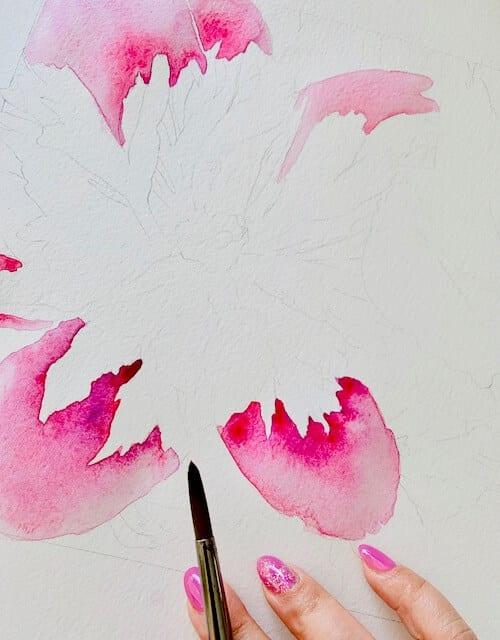 du siehst wie dodo die zweite Farblasur in Violett malt