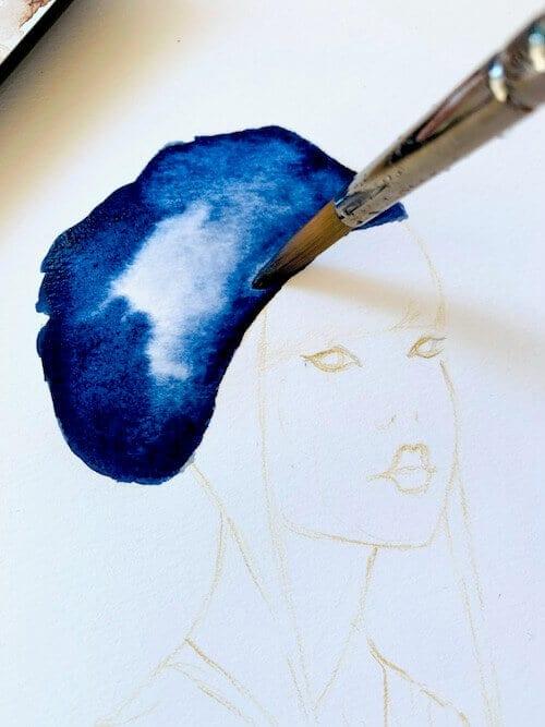 du siehst wie dei kopfbedeckung der geisha eine blaue farbe erhält