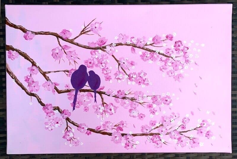 du siehst das fertige Acrylbild VOGEL auf Kirschblüten