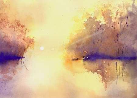 Du siehst das fertoge Aquarell Sonnenaufgang am Weiher