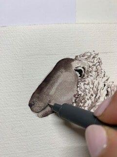du siehst wie ich die Schnauze vom Weihnachts-Schaf zeichne