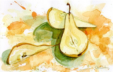 Bosc Pear.  Watercolor Study by Chris Carter