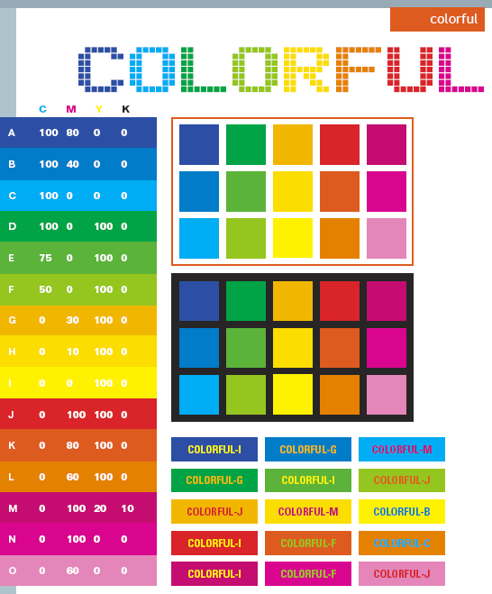 Colorful color schemes. color combinations. color palettes for print (CMYK) and Web (RGB + HTML)