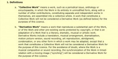 "Definitions of ""collective work"" and ""derivative work"" for in 1. a 1.b CC licence"