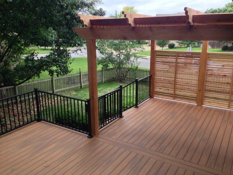 Composite deck with pergola