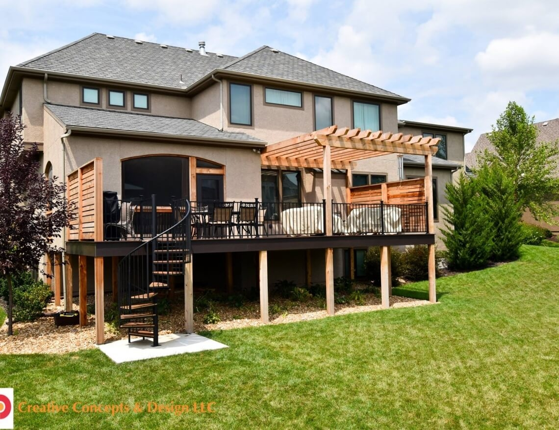 Privacy Deck With Pergola And Spiral Stairs In Leawood Ks | Spiral Staircase Outdoor Deck | Outside Deck | Built Spiral Stair | Balcony Outdoor | Log | 3 Storey