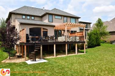 Privacy deck with pergola and spiral stairs full