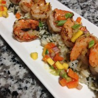 Coconut Thai Shrimp w/ Mango Avocado Salsa and Spinach Lime Rice