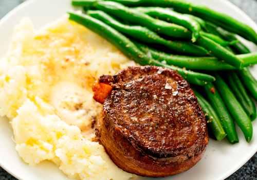 cowboy steak with mashed