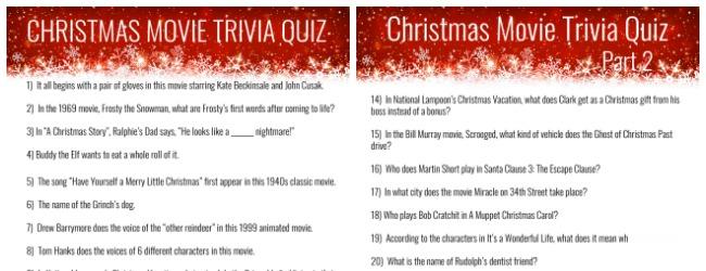 christmas movie trivia quiz printable