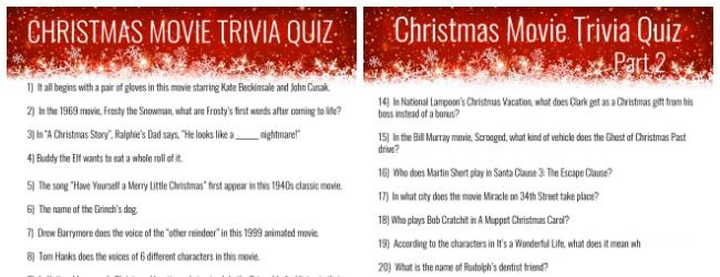 Christmas Movie Trivia Quiz Creative Cynchronicity