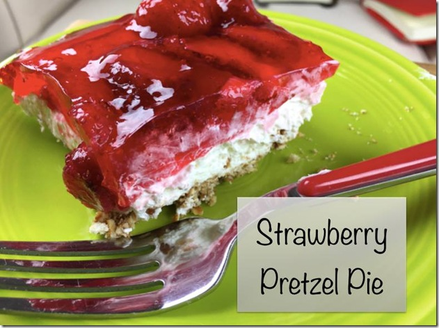Strawberry Pretzel Pie - light and refreshing for a summer dessert. Serve at your next picnic or BBQ.
