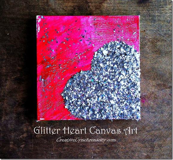 Glitter heart canvas art
