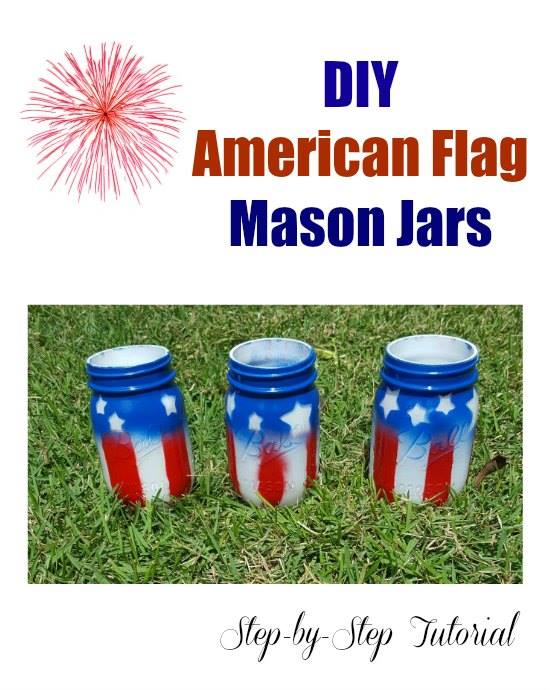 Celebrate the 4th of July or other patriotic American holidays with these DIY American Flag Mason Jars.