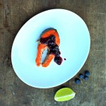 Grilled Cedar Planked Sockeye Salmon with Maple Blueberry Chutney