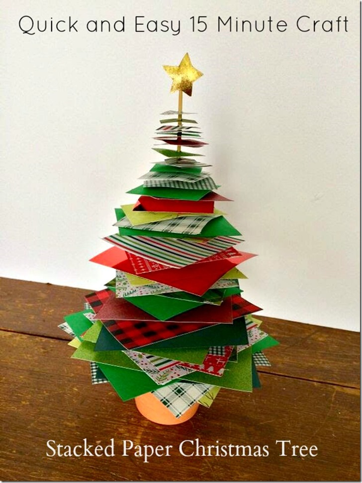 Quick and Easy 15 Minute Stacked Paper Christmas Tree Craft