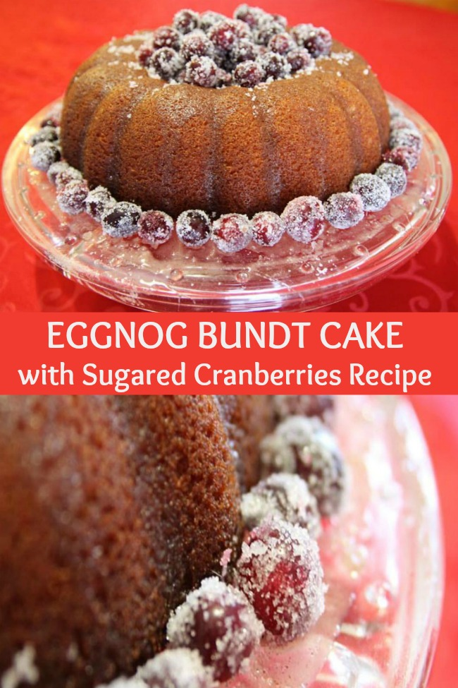 Eggnog Bundt Cake with Sugared Cranberries Recipe