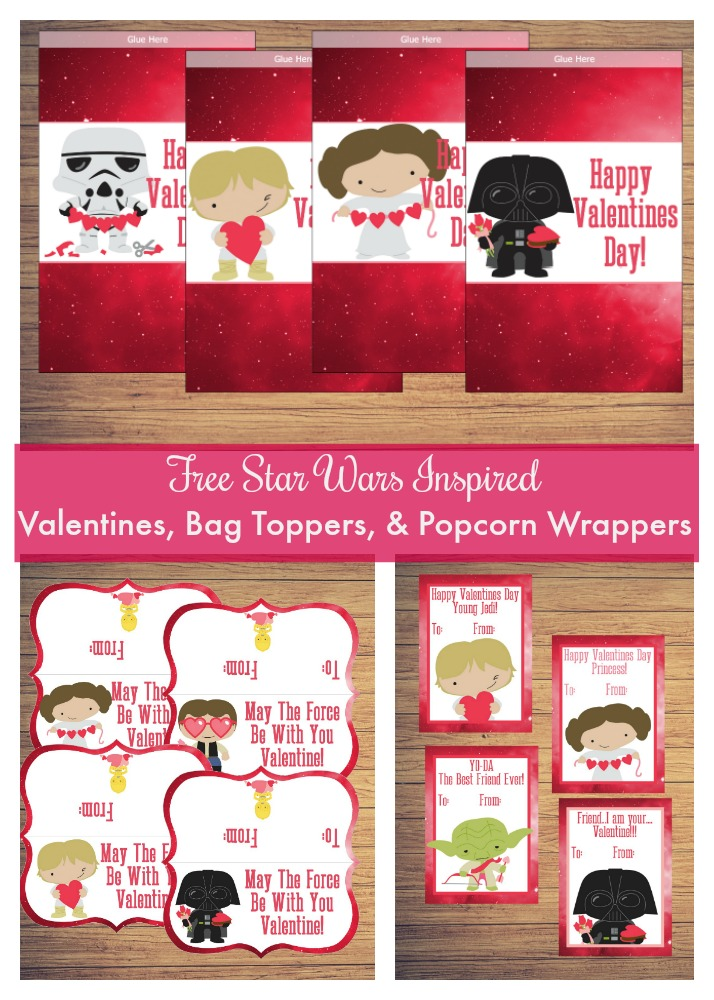 free Star Wars inspired Valentines, bag toppers, and popcorn wrappers