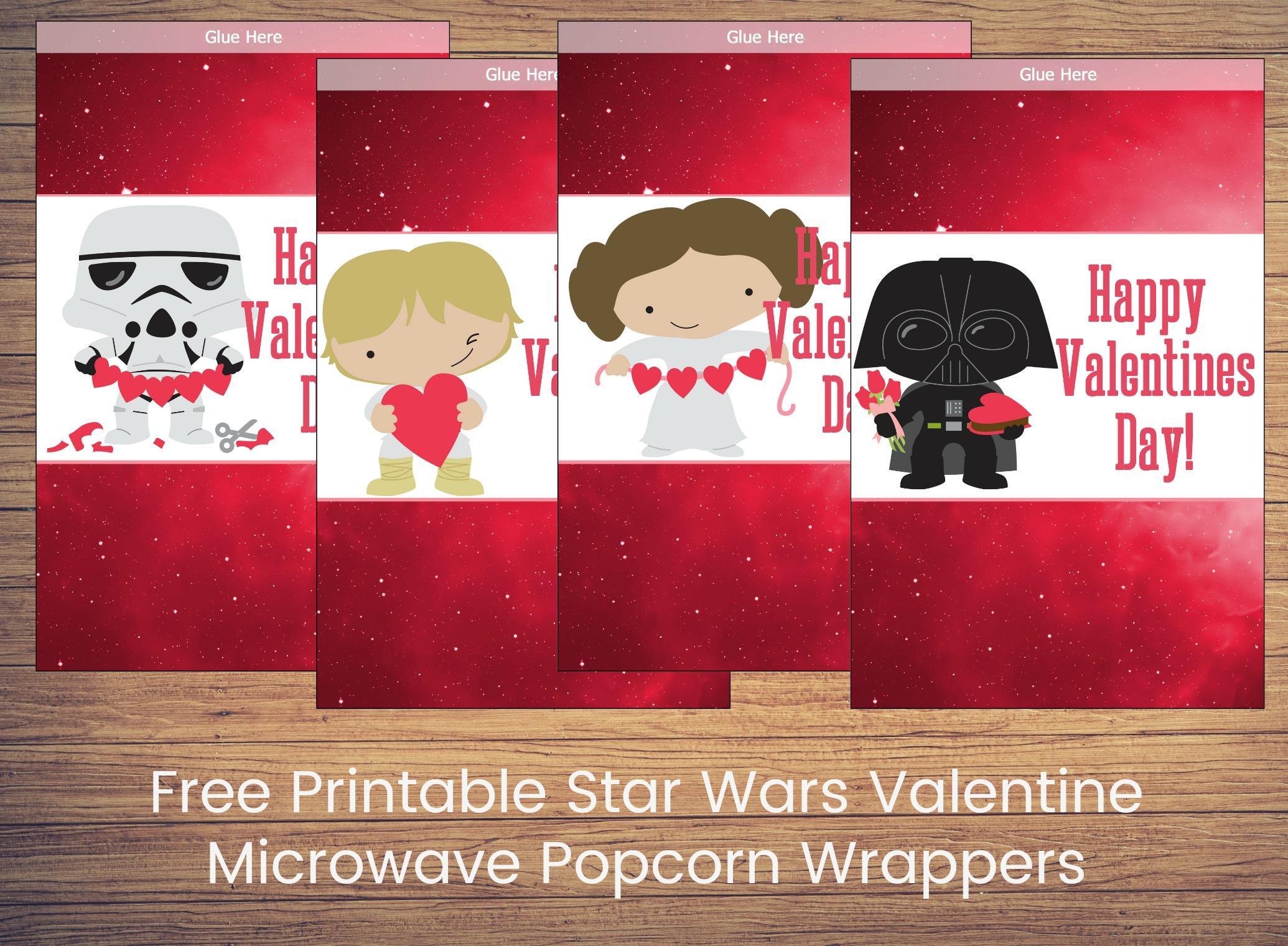 free printable star wars valentine microwave popcorn wrappers